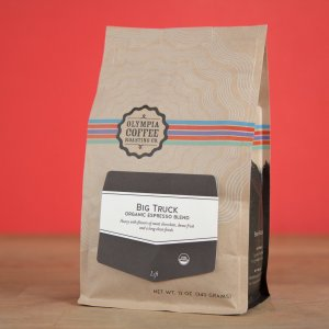 Olympia Big Truck organic espresso blend is a sweet, clean bodied roast shines as an espresso.